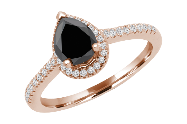 1.20 CT Black Solitaire Pear Diamond 14K Gold Halo Engagement Ring