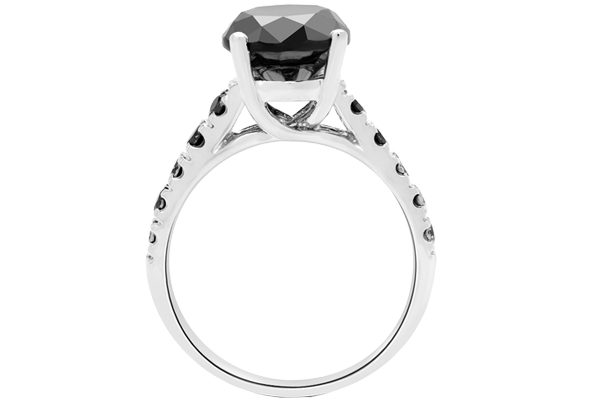 3.30 CT Black Solitaire Round Diamond With Accents 14K Gold Wedding Ring
