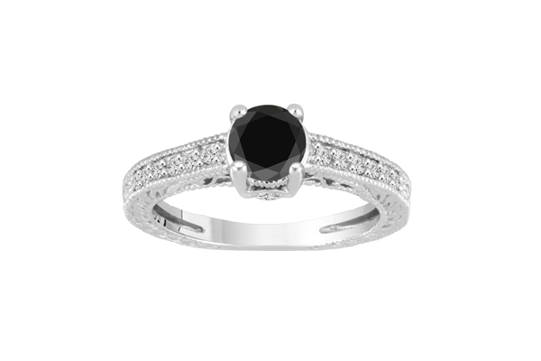 1.20 CT Black Solitaire Round Cut Diamond 14K Gold Engagement Ring