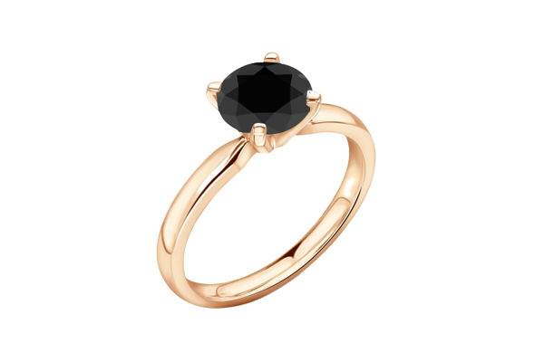 Black Solitaire Round Diamond 14K Gold 4 Prong Wedding Ring