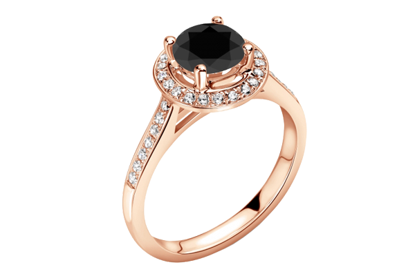 Black Solitaire Round Cut Diamond 14K Gold Pave Halo Ring