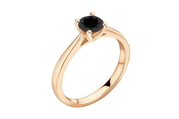 Black Solitaire Round Cut Diamond 14K Gold 4 Claw Engagement Ring