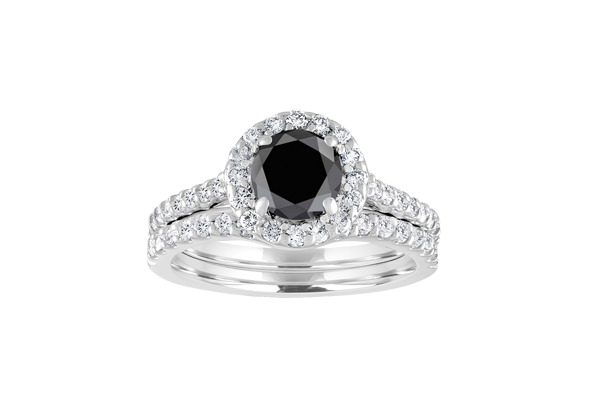 1.90 CT Black Solitaire Round Cut Diamond 14K Gold Halo Pave Engagement Ring