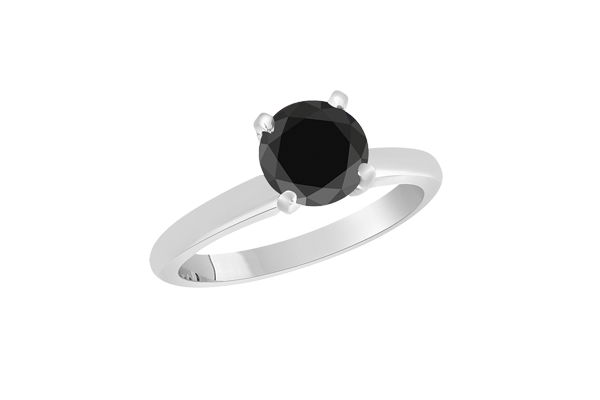 2 CT Black Solitaire Round Cut Diamond 14K Gold Engagement Ring