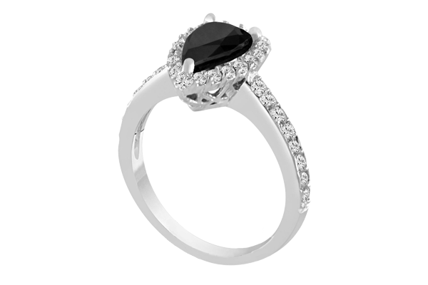 1.30 CT Black Solitaire Pear Diamond 14K Gold Halo Engagement Ring