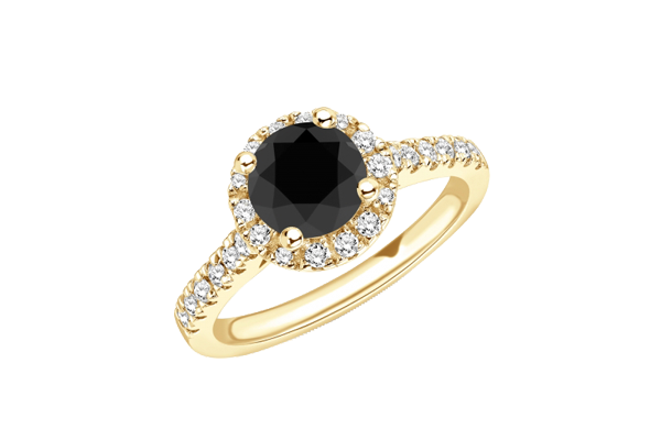 Black Solitaire Round Diamond 14K Gold Pave Halo Ring