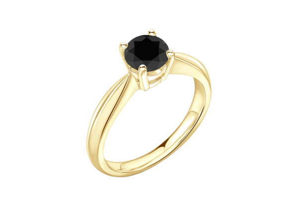 Black Solitaire Round Diamond 14K Gold 4 Prong Engagement Ring