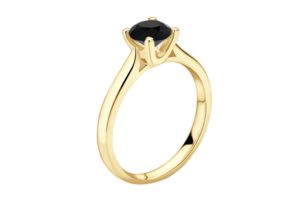Black Solitaire Round Cut Diamond 14K Gold 4 Prong Engagement Ring