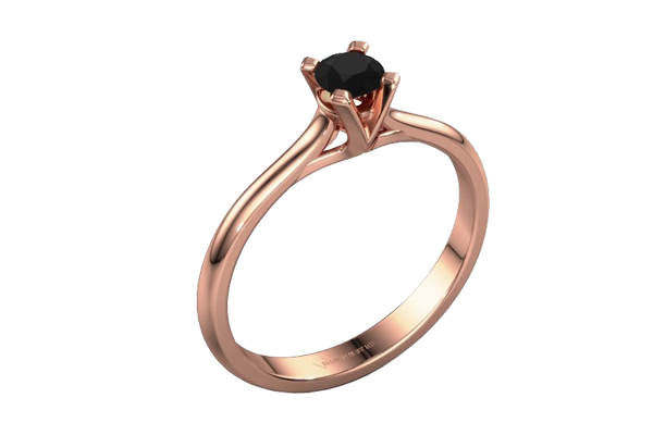 Black Solitaire Round Diamond 14K Gold Prong Engagement Ring