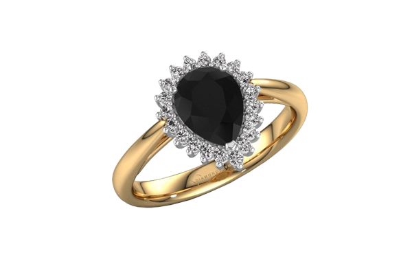 Black Solitaire Pear Cut Diamond 14K Gold Halo Engagement Ring