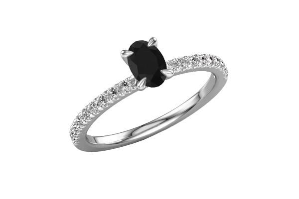 Black Solitaire Oval Shape Diamond 14K Gold 4 Prong Engagement Ring
