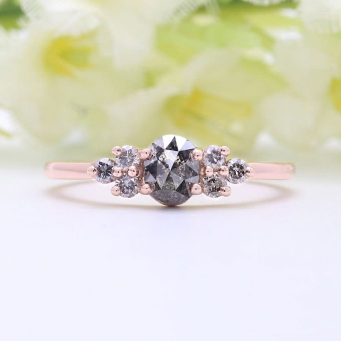 0.72 CT Salt And Pepper Oval Cut Natural Diamond 14K Gold Engagement Ring