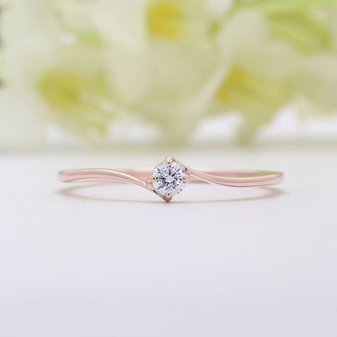 0.11 CT Salt and Pepper Round Shape Natural Diamond 14K Gold Engagement Ring
