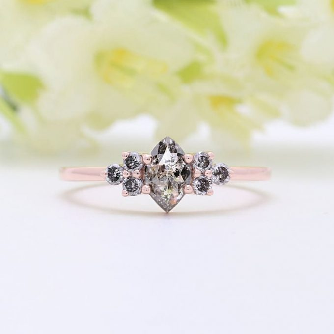 0.59 CT Salt and Pepper Marquise Shape Natural Diamond 14K Gold Engagement Ring