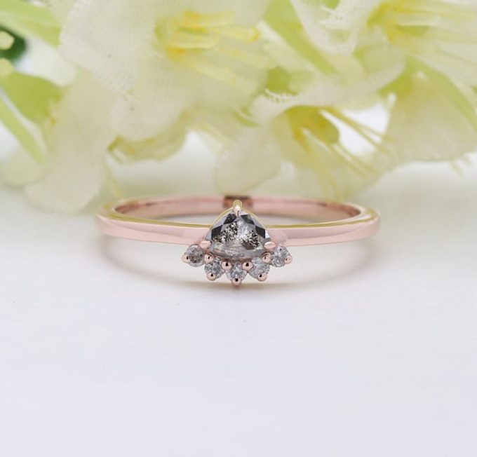 0.16 CT Salt and Pepper Triangle Shape Natural Diamond 14K Gold Engagement Ring