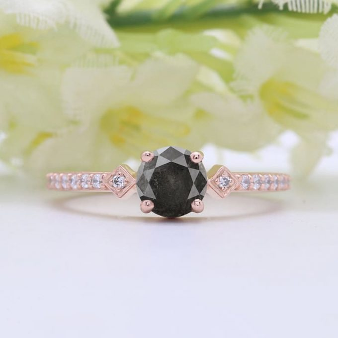 0.62 CT Salt and Pepper Round Shape Natural Diamond 14K Gold Engagement Ring