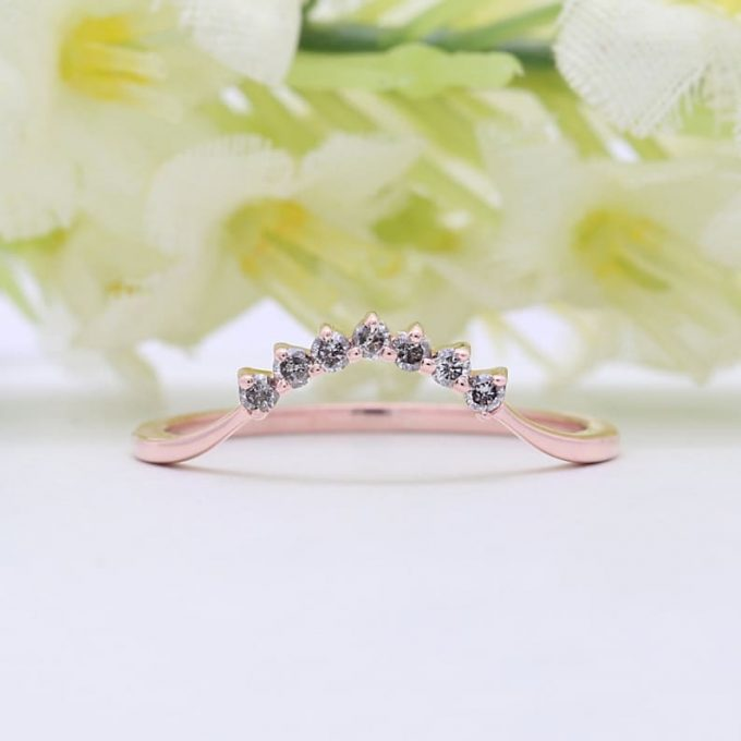0.13 CT Salt and Pepper Round Cut Natural Diamond 14K Gold Engagement Ring