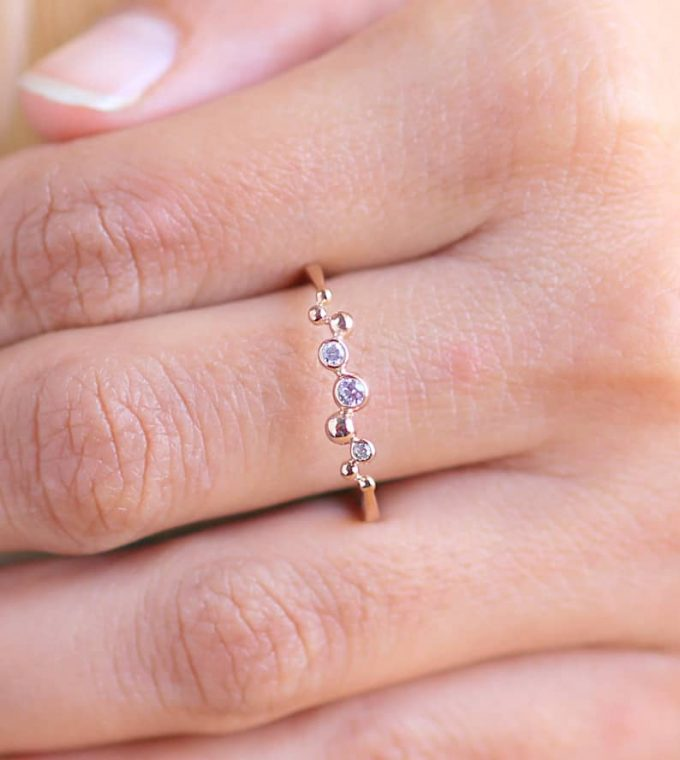 0.10 CT Salt and Pepper Round Cut Natural Diamond 14K Gold Engagement Ring