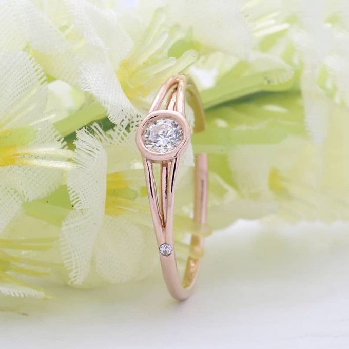 0.18 CT Salt and Pepper Round Cut Natural Diamond 14K Gold Engagement Ring