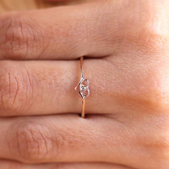 0.05 CT Salt and Pepper Round Cut Natural Diamond 14K Gold Engagement Ring