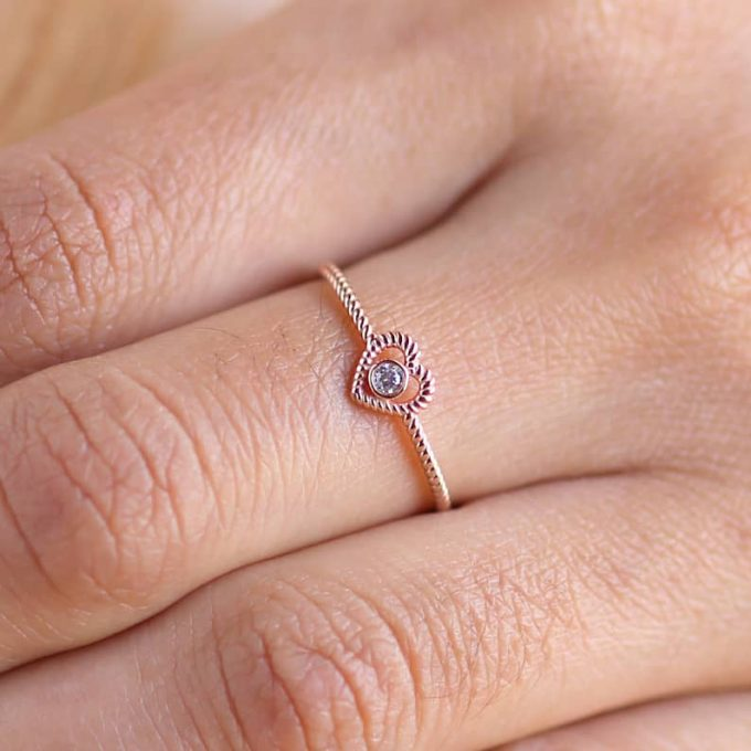0.10 CT Salt and Pepper Round Shape Natural Diamond 14K Gold Engagement Ring