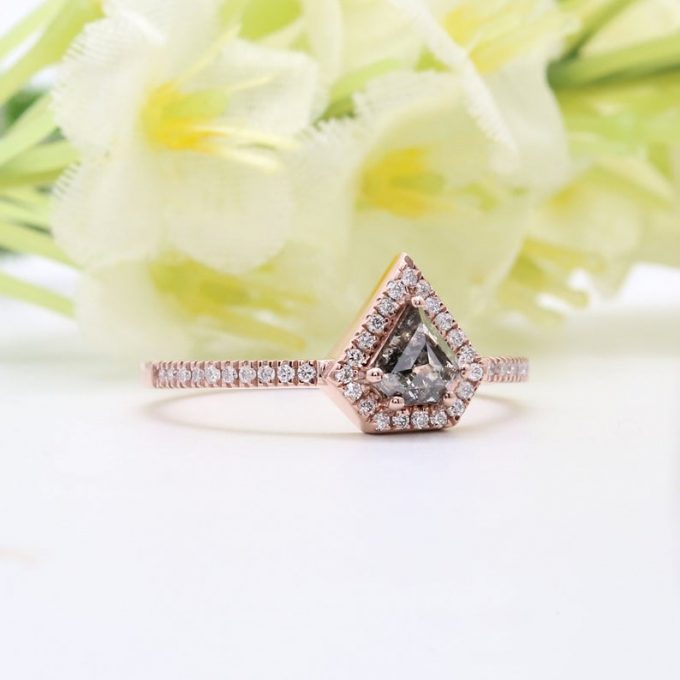 0.45 CT Salt and Pepper Shield Cut Natural Diamond 14K Gold Engagement Ring