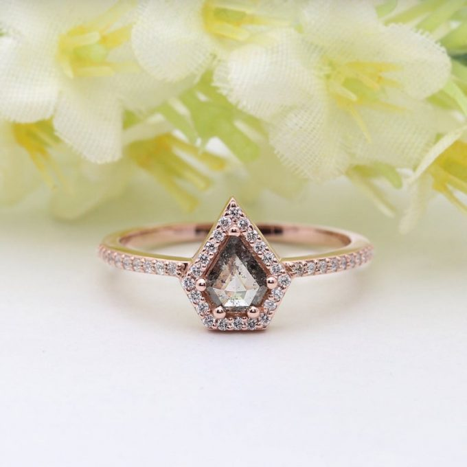 0.30 CT Salt and Pepper Shield Cut Natural Diamond 14K Gold Engagement Ring