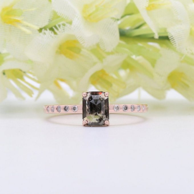 0.67 CT Salt and Pepper Radiant Cut Natural Diamond 14K Gold Engagement Ring