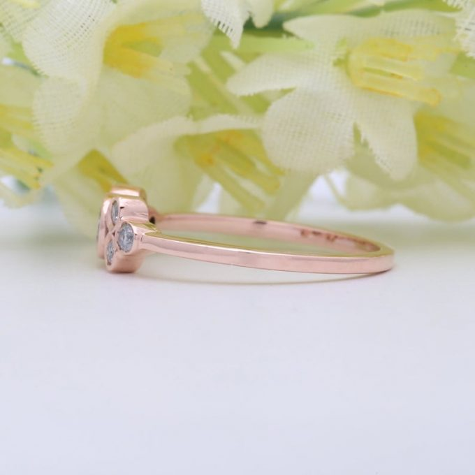 0.16 CT Salt and Pepper Round Cut Natural Diamond 14K Gold Engagement Ring
