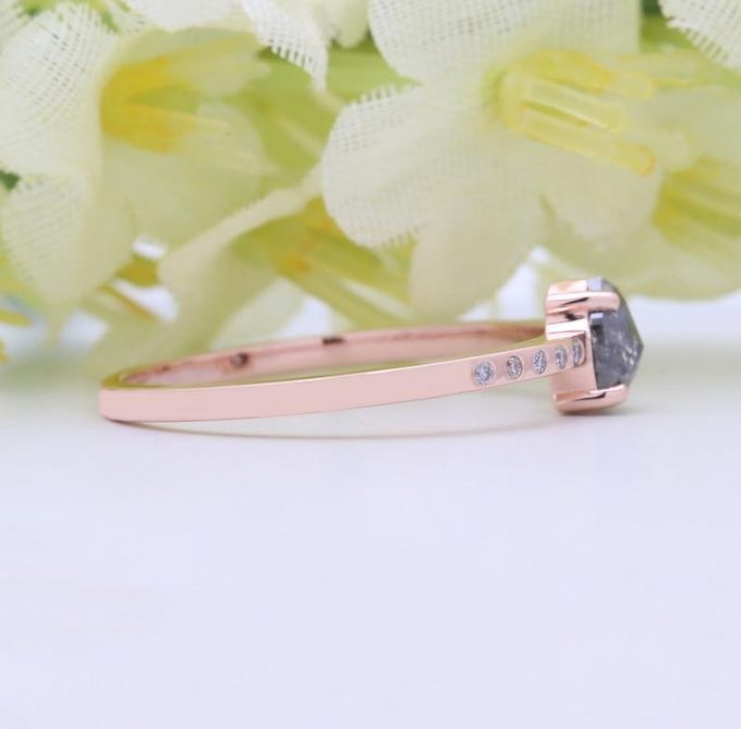 0.42 CT Salt and Pepper Pear Cut Natural Diamond 14K Gold Engagement Ring