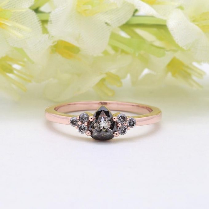 0.61 CT Salt and Pepper Pear Cut Natural Diamond 14K Gold Engagement Ring