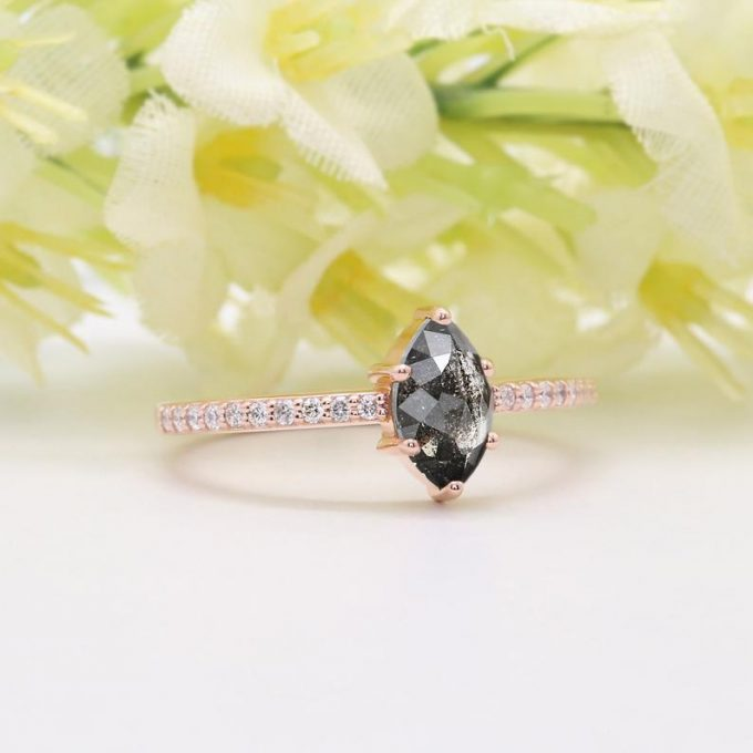 0.41 CT Salt and Pepper Marquise Cut Natural Diamond 14K Gold Engagement Ring