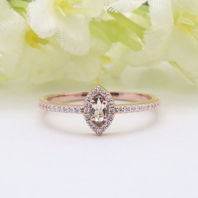 0.17 CT Salt and Pepper Marquise Cut Natural Diamond 14K Gold Engagement Ring