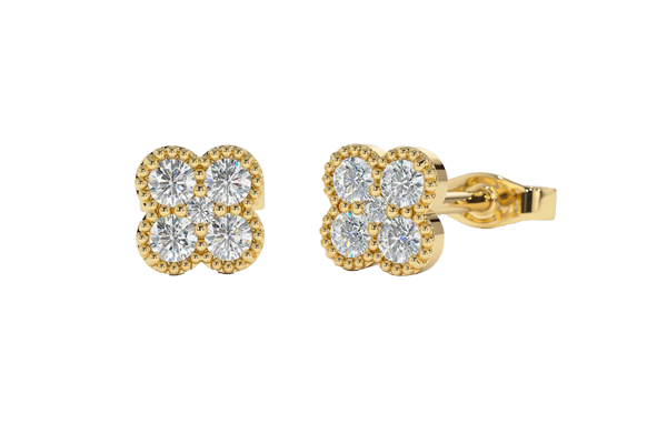 0.30 CT Round Cut Diamond and Gold Stud Earring