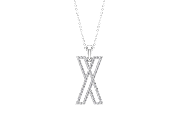 0.53 CT Round Cut Diamond and Gold Studded Name Pendant
