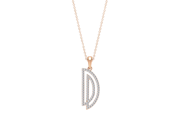 0.44 CT Round Cut Diamond and Gold Studded Name Pendant