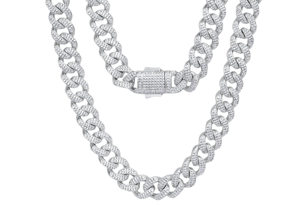 17.73 CT Round Cut Diamond and Gold Cuban Hip Hop Chain in 18 inch