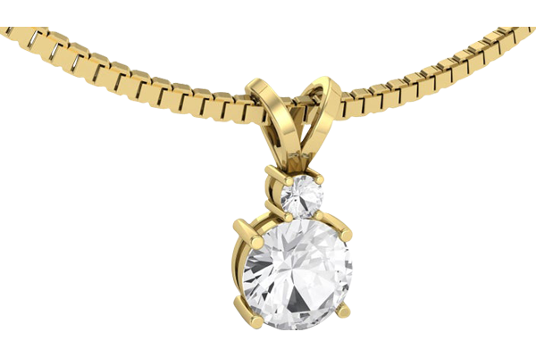 1.4 CT Round Cut Diamond and Gold Studded Solitaire Diamond Pendant