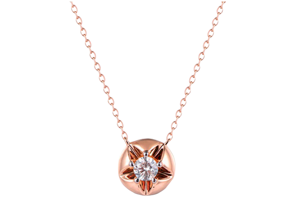 0.1 CT Round Cut Diamond and Gold Studded Solitaire Diamond Pendant