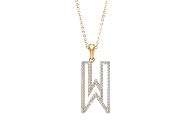 0.65 CT Round Cut Diamond and Gold Studded Name Pendant