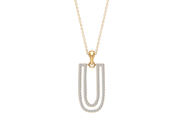 0.51 CT Round Cut Diamond and Gold Studded Name Pendant