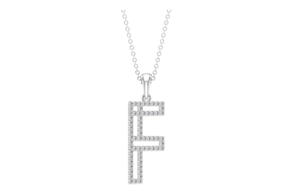 0.42 CT Round Cut Diamond and Gold Studded Name Pendant