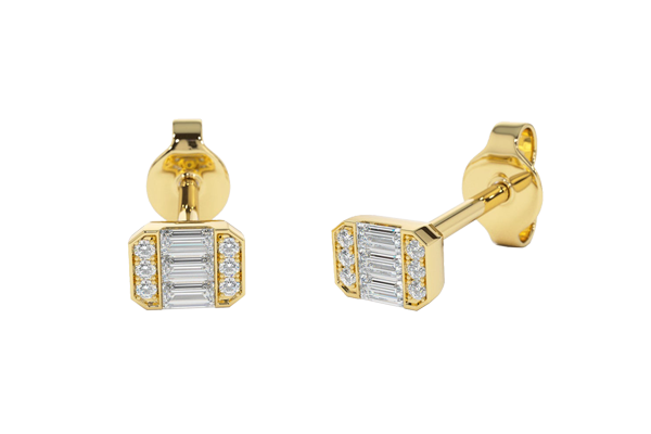 0.12 CT Baguette Cut Diamond and Gold Stud Earring