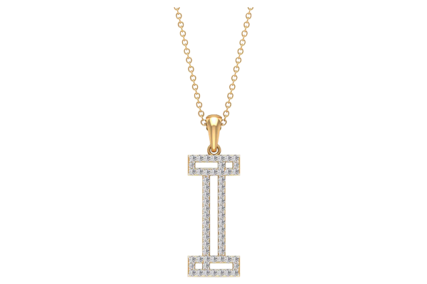 0.39 CT Round Cut Diamond and Gold Studded Name Pendant