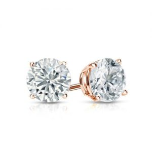 0.5 CT Round Cut Diamond and Gold Stud Earring