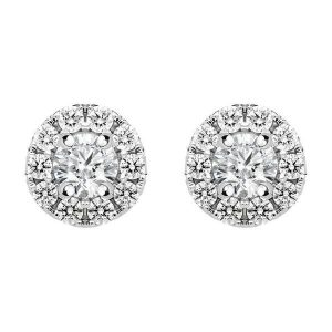 0.53 CT Round Cut Diamond and Gold Stud Earring