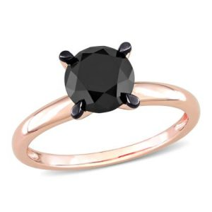 1. Black Solitaire Round Cut Diamond 14K Gold Engagement Ring