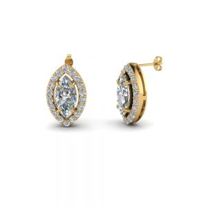 1.0 CT Marquise Cut Diamond and Gold Stud Earring