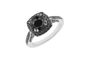 1.85 CT Black Solitaire Round Diamond 14K Gold Halo Pave Engagement Ring