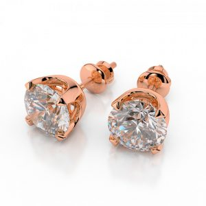 4. 0.2 CT Round Cut Diamond and Gold Stud Earring
